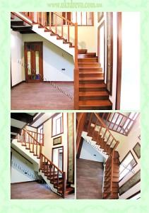 Деревянная лестница с проборками на стобах вид 1