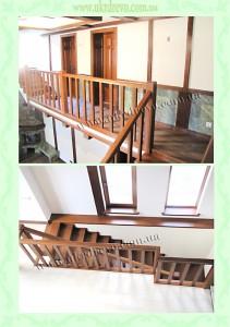 Деревянная лестница с проборками на стобах вид 2