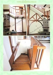 Деревянная лестница с проборками на стобах вид 3