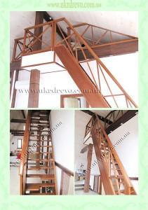 Деревянная лестница гусинный шаг