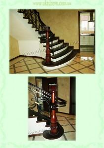 Деревянная лестница на бетоне вид 1