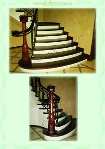 Деревянная лестница на бетоне вид 2
