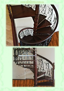 Винтовая деревянная лестница с кованым ограждением
