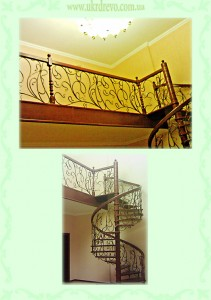 Винтовая деревянная лестница с кованым ограждением вид 2