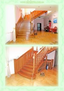 Деревянная лестница с резьбой на балясинах вид 1