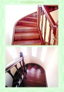 Деревянная лестница с изгибом тетивы вид 2