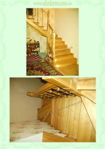 Деревянная лестница ясень чистый лак без красителя