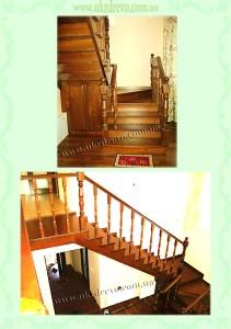 Деревянная лестница с деревянными фасадами