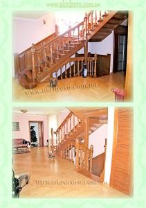 Деревянная лестниц с резьбой на балясинах вид 2