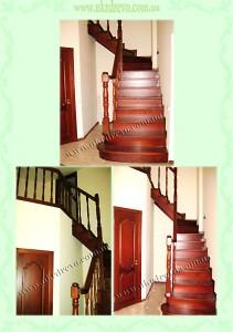 Деревянная лестница с подиумными ступенями