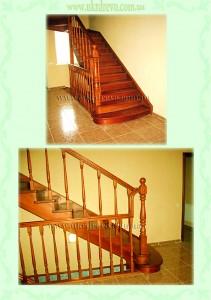 Деревянная лестница тетивно-косоурная вид 1