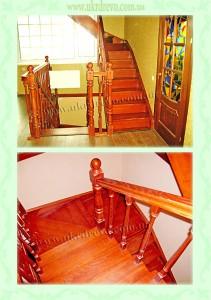 Деревянная лестница тетивно-косоурная вид 2