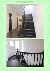 Деревянная лестница по бетону