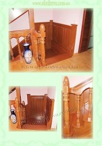 Деревянная лестница с резьбой на балясиназ вид 3