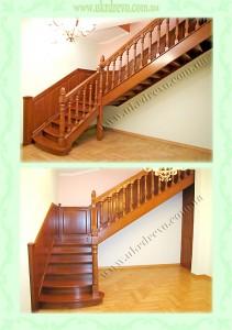 Деревянная лестница с резьбой на балясиназ вид 4