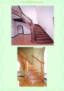 Деревянная лестница с резьбой на столбах