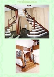 Деревянная лестница металическое ограждение